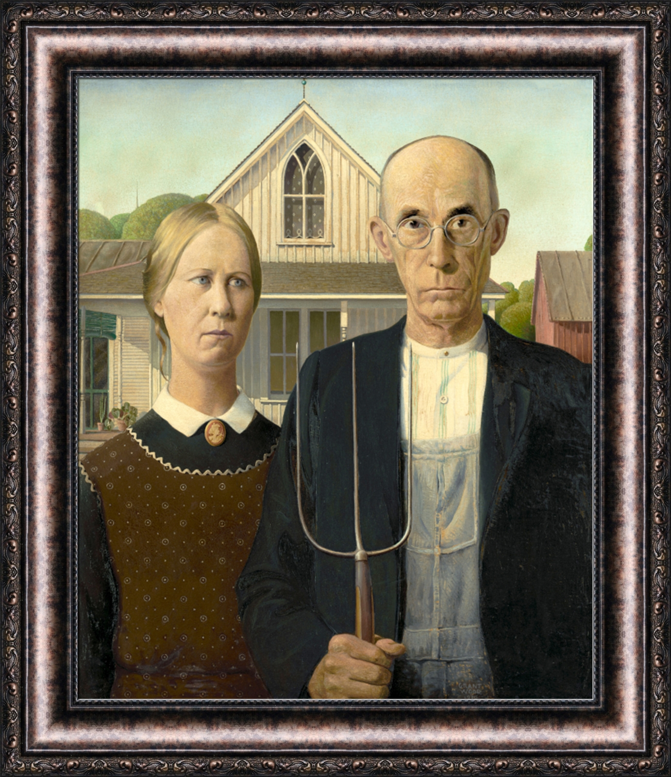 american gothic was painted by grant Grant wood and american gothic painting american gothic grant had his sister and their local dentist pose in front of the house, and painted them with a very.